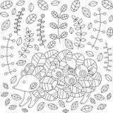 Hérisson dans la forêt d'automne avec des pommes, feuilles, champignons Vecteur Image libre de droits