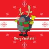 Hérisson de regard mignon, habillé comme Rudolph le renne Images stock