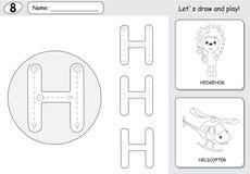 Hérisson et hélicoptère de bande dessinée Fiche de travail de découverte d'alphabet : wri Photo libre de droits
