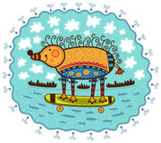Hérisson et planche à roulettes décoratifs Photo libre de droits