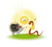 Hérisson, serpent sous le soleil Photo stock