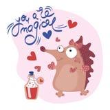 HÉRISSON Valentine Cartoon Animal Set de MOTIVATION illustration stock