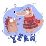 HÉRISSON Valentine Day Cartoon Animal Set de RENARD illustration de vecteur