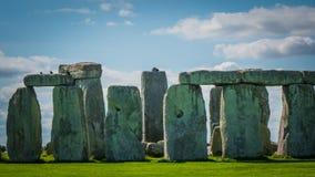 Héritage de l'UNESCO de Stonehenge dans la fin BRITANNIQUE vers le haut de la photo images stock