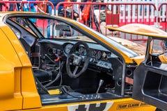 Héritage voyageant la tasse dans le salon automobile montjuic de circuit de Barcelone d'esprit images stock