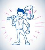 Héroe con estilo del bosquejo del martillo del antivirus Imágenes de archivo libres de regalías