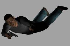 Héroe de la acción (con el camino de recortes) Imagen de archivo libre de regalías