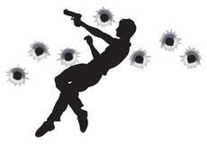 Héroe de la acción en silueta de la lucha del arma Imagen de archivo libre de regalías