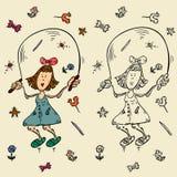 Héroe del certoon de la muchacha del bosquejo stock de ilustración