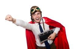 Héroe divertido con el teclado foto de archivo
