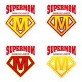 Héroe estupendo Logo Supehero Letters de la mamá Fotos de archivo
