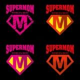 Héroe estupendo Logo Supehero Letters de la mamá stock de ilustración