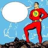 Héroe euro con la burbuja del discurso Imagenes de archivo