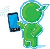 Héroe verde con el teléfono celular, móvil, pista de tacto libre illustration