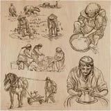 Héroes de la clase obrera - una colección dibujada mano Línea techni del arte Imágenes de archivo libres de regalías