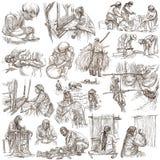Héroes de la clase obrera - una colección dibujada mano Línea techni del arte Imagen de archivo