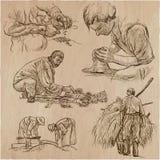Héroes de la clase obrera - una colección dibujada mano Línea techni del arte Fotos de archivo