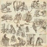 Héroes de la clase obrera - una colección dibujada mano Línea techni del arte Fotografía de archivo libre de regalías