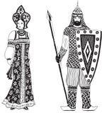 Héroes de las leyendas rusas stock de ilustración