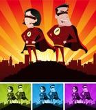 Héroes estupendos masculinos y femeninos Foto de archivo libre de regalías