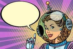Héros d'astronaute de femme de la science-fiction Photographie stock