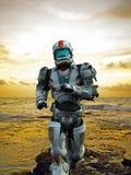 Héros d'astronaute - runing de la plage illustration stock