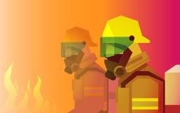 Héros de sapeur-pompier devant le feu Photographie stock libre de droits