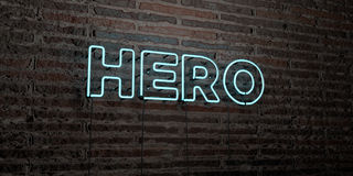 HÉROS - enseigne au néon réaliste sur le fond de mur de briques - image courante gratuite de redevance rendue par 3D illustration stock