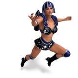 Héros superbe féminin dans l'équipement noir et bleu Photos libres de droits