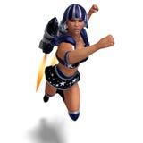 Héros superbe féminin dans l'équipement noir et bleu Photographie stock libre de droits