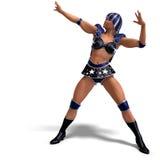 Héros superbe féminin dans l'équipement noir et bleu Images stock