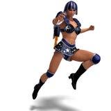 Héros superbe féminin dans l'équipement noir et bleu Image libre de droits