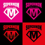 Héros superbe Logo Supehero Letters de maman Image stock