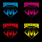 Héros superbe Logo Supehero Letters de maman Photo stock