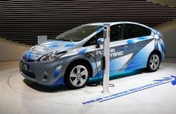 Híbrido enchufable de Toyota Prius en la demostración de motor de París Foto de archivo libre de regalías