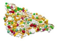 Hígado de píldoras y de cápsulas Imágenes de archivo libres de regalías