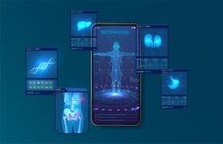 Hígado, pulmones y exploraciones de exploración del esqueleto una persona con un teléfono móvil Ejemplo moderno para el diseño mé stock de ilustración