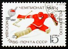 Hóquei em gelo, campeonato mundial, Moscou 1986, goleiros, cerca de 1 imagem de stock royalty free