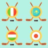 Hóquei em Itália, em Cazaquistão, em Hungria e em Japão Foto de Stock Royalty Free