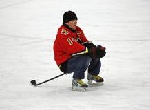 Hóquei Theo Fleury Stick Sits do NHL imagem de stock royalty free