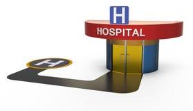 Hôpital avec l'héliport illustration de vecteur