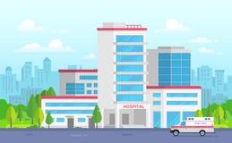Hôpital de ville avec l'ambulance - illustration moderne de vecteur Image libre de droits