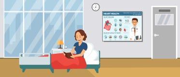 Hôpital Ward Flat Vector Illustration de cardiologie illustration de vecteur