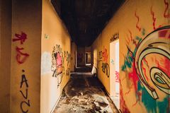 Hôtel abandonné dans Barcarena photo stock