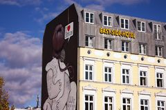Hôtel de côté est dans la partie est de Berlin Images stock