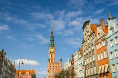 Hôtel de Ville à la rue de marché à terme de Dluga, Danzig, Pologne photo stock