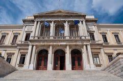 Hôtel de ville, île de Syros, Grèce Ermoupolis photo libre de droits