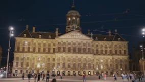 Hôtel de ville d'Amsterdam la nuit - AMSTERDAM - LES PAYS-BAS - 19 juillet 2017 clips vidéos