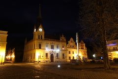 hôtel de ville dans la ville de Vidnava photos libres de droits