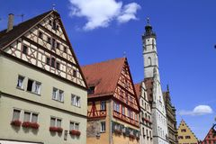 Hôtel de ville de der Tauber d'ob de Rothenburg Image stock